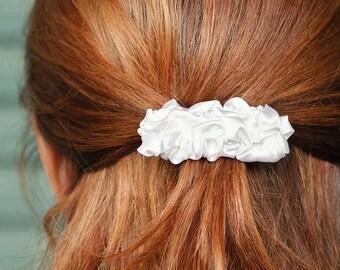 White fabric small french barrette hair clip