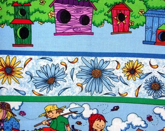 Tissu coton pour enfants très coloré,  thème le jardinage