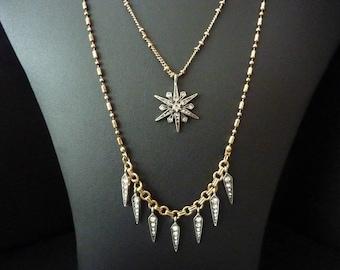 Star Necklace Starburst Necklace Star Pendant Starburst Pendant Art Deco Necklace Gatsby Necklace Art Nouveau Necklace Boho Vintage Necklace