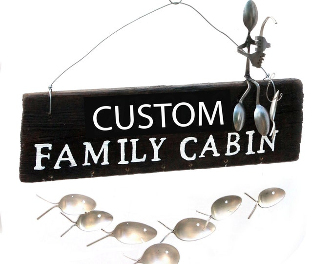 Custom Family Cabin Sign, Fishing Sign, Rental Vacation Property Signs, Welcome Mat, Front Door Decor, Silverware Flatware Spoon Fish Art,