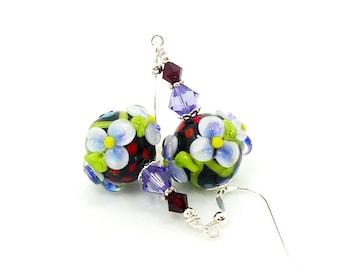 Purple Red Floral Earrings, Lampwork Earrings, Polka Dot Earrings, Glass Bead Earrings, Flower Earrings, Glass Earrings, Bead Earrings