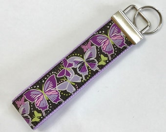 ButterflyRibbon Beautiful Realistic Paquette Designer  Wristlet KeyFob,Luggage/Backpack Tag,Wildlife/Nature/Teacher Fob,Butterfly collecting