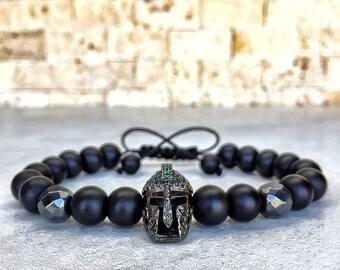 Mens Spartan Bracelet, Mens Onyx Bracelet, Knight Bracelet, Bracelet For Men, Helmet Bracelet, Spartan Bracelet, Gladiator Bracelet