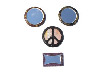 4 Fridge Magnet Set ''PEACE with your FACE'',decorative fridge magnets 2 small mirrors,peace sign,abstract form mirror