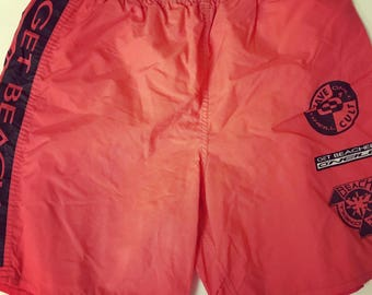 Vintage O Neill Beach  Shorts / Red / Pink / Large / L / Oneill /  Swimwear / Swimming / Swim / Vacation / Trunk / Surfing