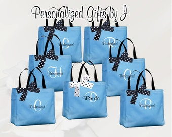 8 bridesmaid tote bags , bridesmaid gifts , tote bag , beach bag , bachelorette party gift ,wedding bag , maid of honor