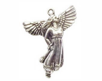 6 Flying Silver Angel Charm Pendant 33x27mm by TIJC SP0291