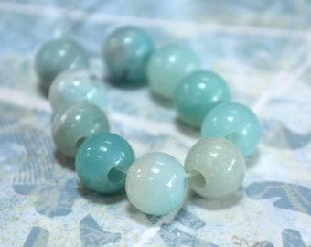 10pcs Amazonite 8mm Round Beads Gemstone Bead Large Hole 2.5mm
