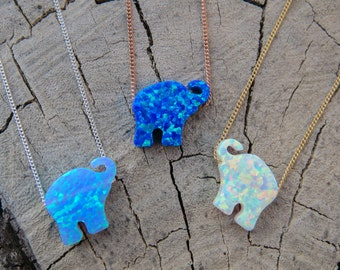 Opal necklace, opal Elephant necklace, Blue opal necklace, opal gold necklace, opal jewelry, Elephant necklace, Christmas gift