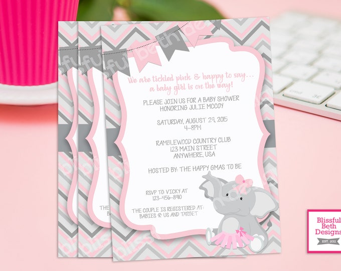 PINK ELEPHANT TUTU, Elephant TuTu Baby Shower Invitation, Elephant Baby Shower, Elephant Tutu, Elephant Shower Invitation, Baby Shower