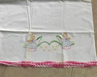 Vintage Angel Embroidered Pillowcases - set of 2