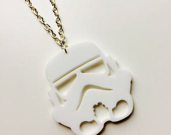 Storm Trooper | Star Wars | The Force Awakens | White | Laser Cut | Acrylic | Necklace