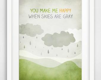 Baby Nursery Decor, Kids Art Print, Kids Room Decor, You Make Me Happy, Children Wall Art, Lullaby Lyrics,