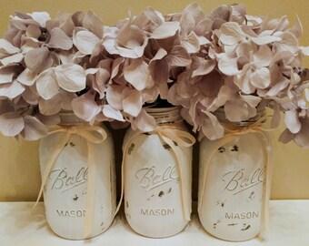 White Home Decor, Farmhouse Wedding Decor, Rustic Decor, Distressed Painted Quart Mason Jars, Vase, Shabby Chic Decor, Dorm Decor