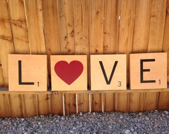 LOVE scrabble tiles *set of 4*