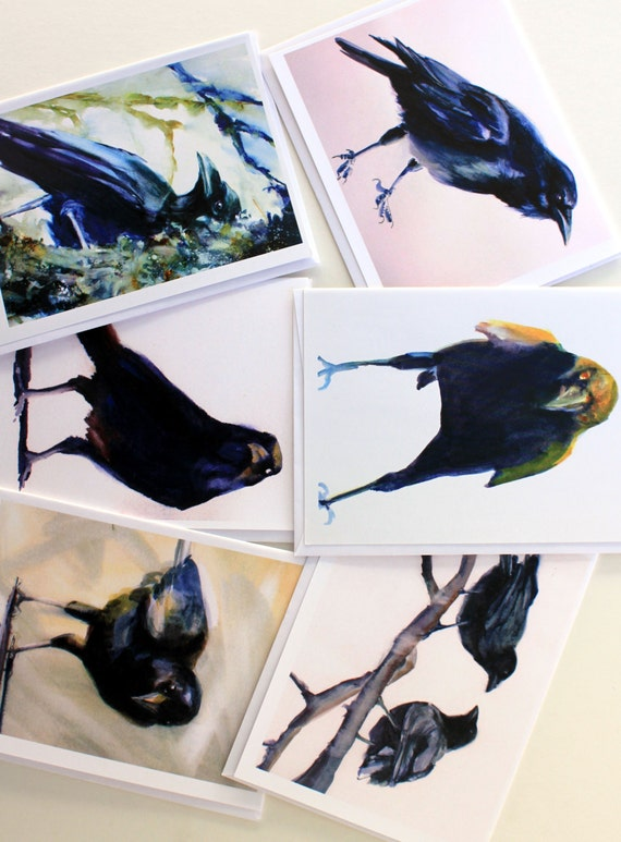 Crow 2 - note cards - blank cards - greeting cards - Bonnie White - watercolor - crows - ravens - Columbia River Gorge - gorge art