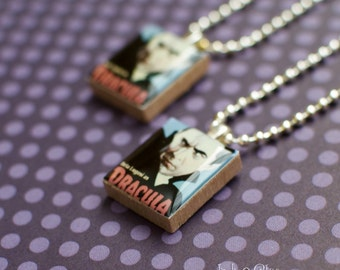 Classic Movie Monster Scrabble Necklace, DRACULA Handmade Scrabble Tile Pendant, Wood Pendant, Monster Postage Stamp, Halloween Jewelry