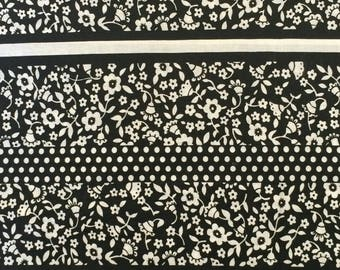 Cotton Fabric / Black and White Floral Cotton Fabric / Floral Cotton Fabric / Black Floral Quilting Fabric / Cotton Quilting Fabric