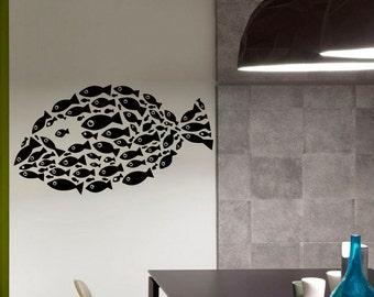 Fish Pattern Sea Ocean Wall Vinyl Decal Sticker Home Decor Art Mural  Z434