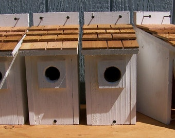 4 white bluebird houses nest with cedar shake roof handmade by Cedarnest