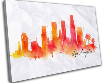 Watercolour Los Angeles Skyline Cityscape Canvas Print Home Decor- Abstract Wall Art - Modern Prints - Ready To Hang