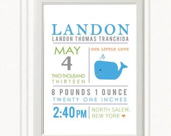 8 x 10 - Custom Birth Announcement Print - Whale Wall art