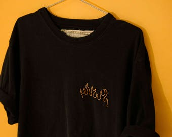 fuego  - [ hand embroidered - t shirt ] hand embroidered apparel