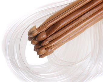 One Afghan Tunisian Crochet Hook  Carbonized Bamboo Weave Needles 12 sizes 3 to 10 mm