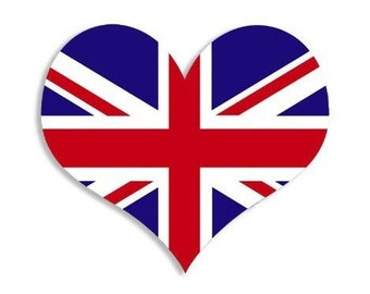 Heart Shaped Union Jack Flag Sticker (British Decal)