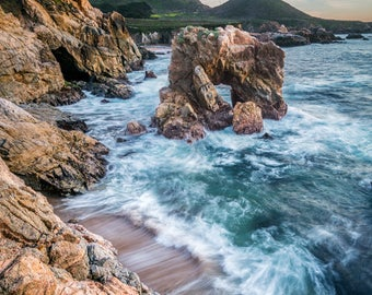 Soberanes Sea Arch -  big sur, earth tones, coast, sunset, warm, cool, home decor, office decor, seascape