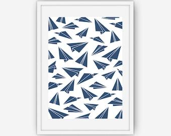 Paper Airplane Print, Navy Blue Paper Plane Print, Navy Blue Wall Art, Wall Art, Printable, Instant Download