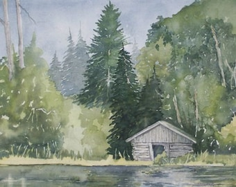 Log Cabin on Lake, Original Watercolor, Prints Available, 5x7 print with 8x10 matching mat. 20.00 each, Includes tax,shipping and handling.