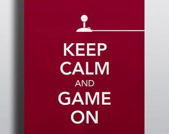 HALF PRICE - Video game poster, typographical poster, video game art - Title: Keep Calm and Game On No.6