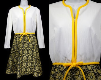 Vintage 60's Yellow White & Navy Floral Dress M