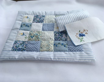 Doll Patchwork Quilt Bedding 40 cm x 35 cm with pillow case and pillow