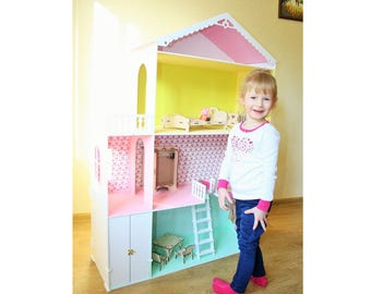 Big Dollhouse With Furniture, Wooden Dollhouse, Barbie Dollhouses, Dollhouse  Kit, Dollhouse Furniture