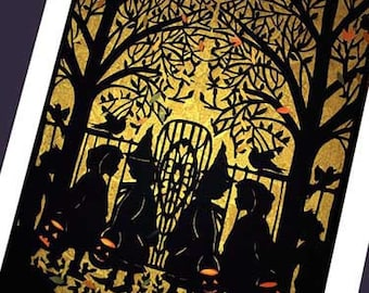 Halloween  Card -silhouette of witches    ( Trick or Treat) #3