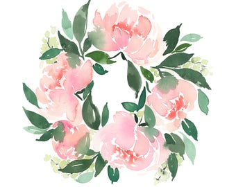 Peony Wreath - INSTANT DOWNLOAD