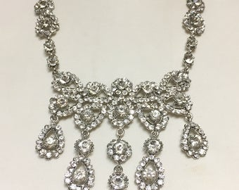Crystal Bridal Necklace Set, Stunning Crystal Necklace, Wedding Necklace for Bride, Statement Necklace, Prom Jewelry 745-4003