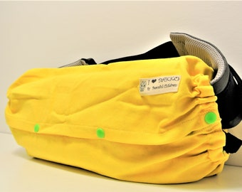 Ready to ship-Gift for new mom-I love DAKKO-Baby carrier storage cover for Ergo,Tula,Beco-Yellow/green&yellow geometric on reverse side