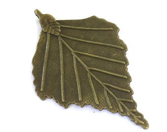 10 Antiqued Bronze Maple Leaf Charms 70 x 45mm