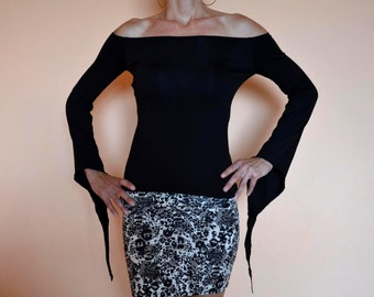 BLACK GOTH TOP Off The Shoulder Top Pixie Top Handmade Goth Top Off The Shoulder Pixie Tunic Pixie Top Goth Pixie Top Bell Sleeve Top
