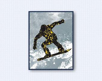 Snowboard Watercolor Poster