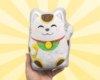 Lucky Cat Small Super Soft Plushie, Cat Pillow, Handmade Pillow, Decorative Pillow, Home Decor, Stuffed Animal