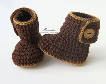 Pure merino wool baby booties, Natural baby clothing, Gender neutral baby, Soft sole baby shoes, Unisex baby clothing, Crochet brown booties