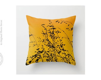 Abstract Ombre Zen Sunset Black Orange Pillow Cover Grasses Organic Nature Grass  Art Throw Pillow Modern Black Golden Orange Pillow Cover