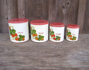 Set of 4 Metal Kitchen Canister with Strawberry Decals