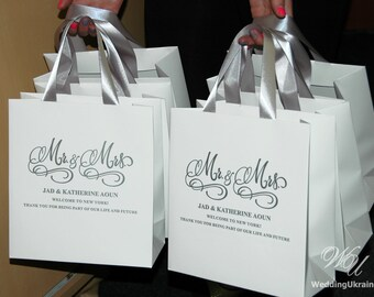 Wedding welcome bag etsy mr mrs wedding welcome bags with satin ribbon and your names elegant personalized destination junglespirit Choice Image