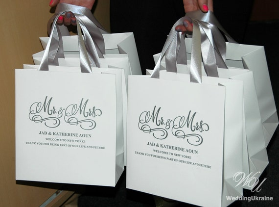 Mr Amp Mrs Wedding Welcome Bags With Satin Ribbon And Your Names