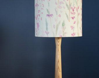 Delicate Pink Heather 20cm Drum Lampshade | Watercolour Print | Table Lamp | Purple Flowers | 50/50% Cotton Linen | Living Room |Bedroom